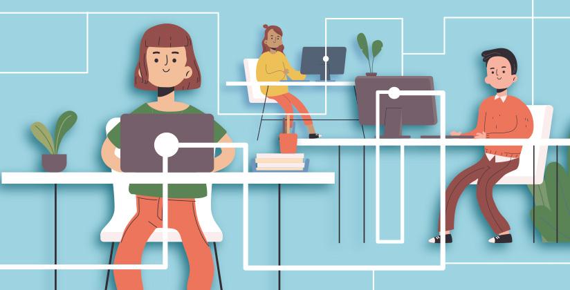 Tres personas que representan a la Administración y ciudadanía conectados electrónicamente