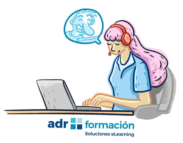 caricatura de mujer chateando a través de un portátil