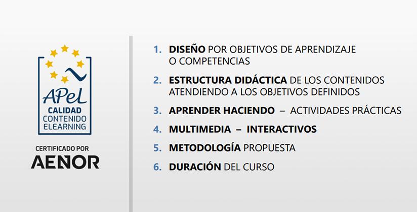 Indicadores de calidad que debe cumplir cualquier contenido formativo en modalidad online para estar certificado con el sello de Calidad APeL-AENOR