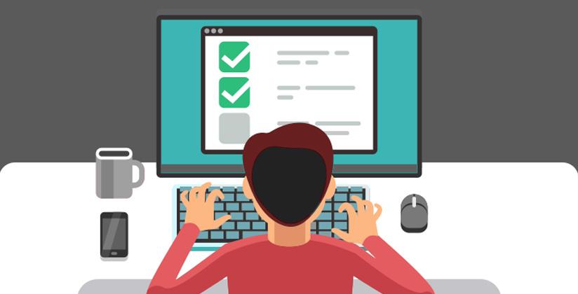 Persona generando encuestas y formularios en una pantalla, ilustración
